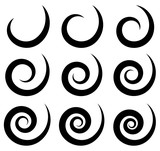 Set of different spiral, swirl, twirl shapes - 96460230