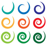 Set of different spiral, swirl, twirl shapes - 96460234