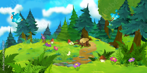 Cartoon background of a forest - illustration for the children - 96467480