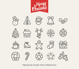 Merry Christmas - Vector clean flat icons set for web design and application user interface. Nice details and easily identifiable. Useful for holidays infographics.