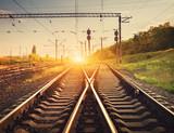 Fototapety Cargo train platform at sunset. Railroad in Ukraine. Railway sta