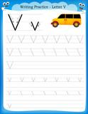 Fototapety Writing practice letter V