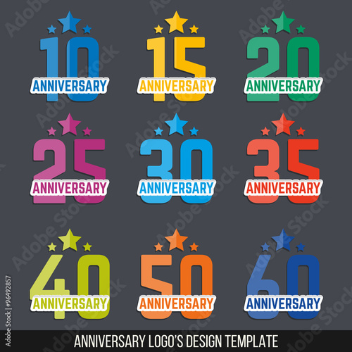 Vector set of anniversary color signs symbols 10 15 20 25 30 35 40 50 60 years jubilee - Color of th anniversary ...
