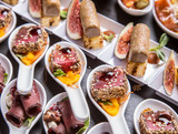 Gourmet appetizers: foie gras, venison, tuna and salmon. - 96497848