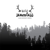 Fototapety seamless coniferous forest border