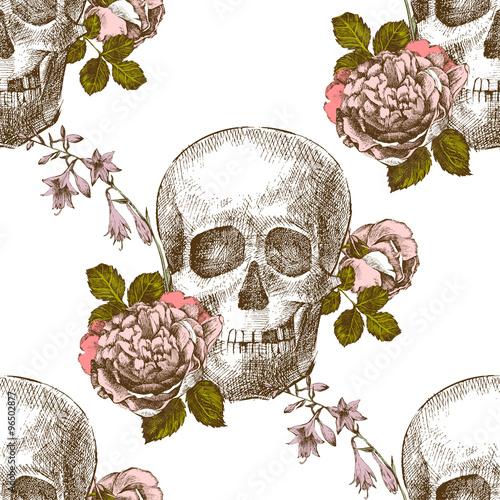 Tapeta Seamless pattern skull with flowers