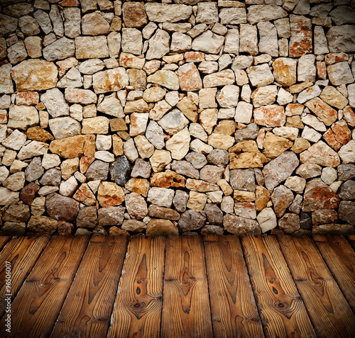obraz lub plakat stone wall with wooden floor