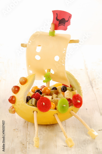 Creative food viking ship for a kids party