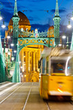 Liberty Bridge with tram, Budapest, Hungary