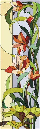 Naklejka Floral stained glass with gladioli