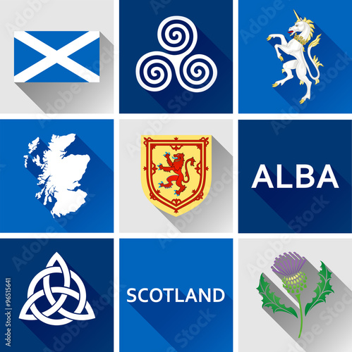 Scotland Flat Icon Set Set Of Vector Graphic Flat Icons Representing