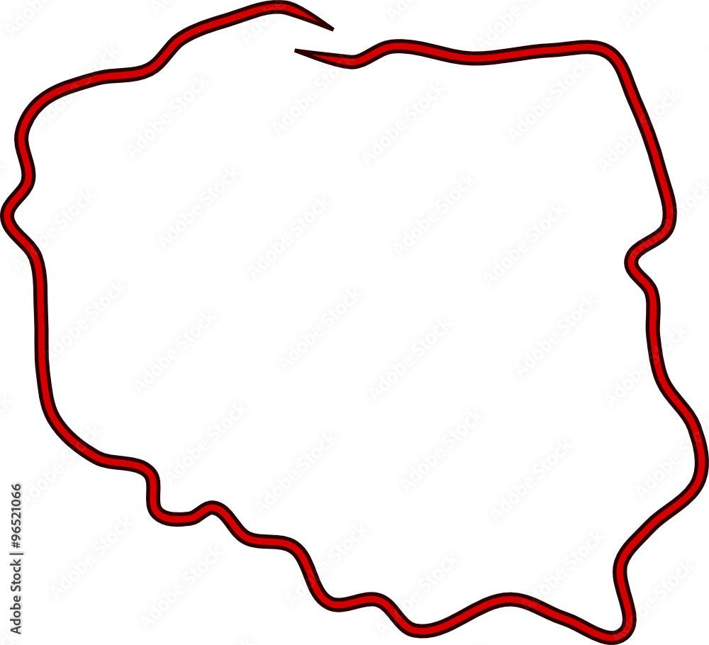 Plakat Czerwony Kontur Polski Wally24pl
