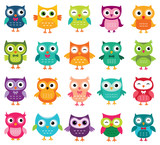 Cute cartoon owls collection - 96523837