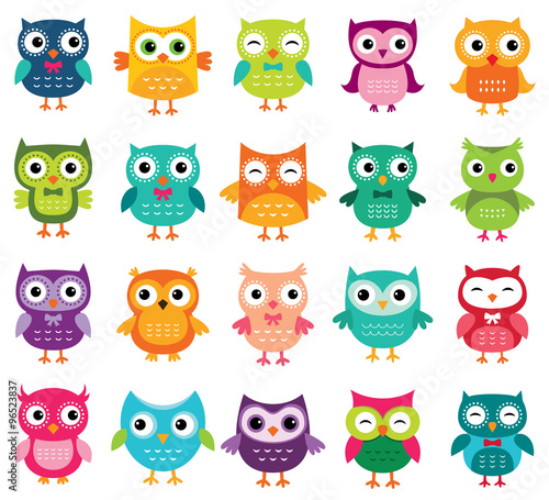 Fotobehang Uilen cartoon Cute cartoon owls collection