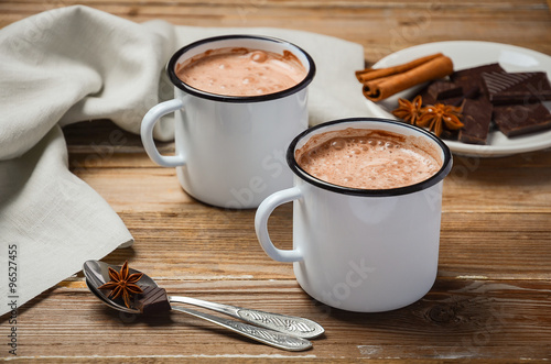 Deurstickers Chocolade Hot chocolate on the rustic wooden table