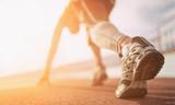 Fototapety Athlete runner feet running on treadmill closeup on shoe
