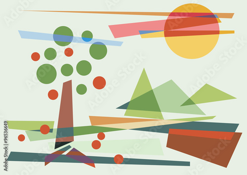 abstract geometric rural landscape, vector background - 96536649