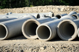 sewage pipes in construction site - 96564441