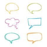 Colorful doodle speech bubbles set. - 96567886