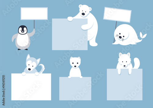 Arctic Animals Characters Show Blank Signs, Winter, Nature Travel and Wildlife,