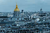 Cyano aerial view of Dome des Invalides, Paris, France