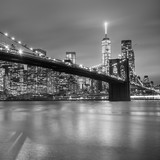 Fototapeta Landscape - Brooklyn bridge at dusk, New York City. © kasto