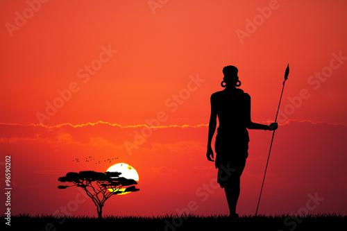 Fotobehang Koraal Masai in African landscape