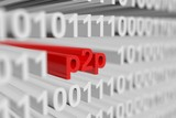 p2p is presented in the form of a binary code with blurred background