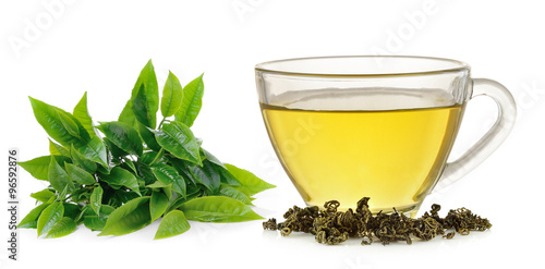 Fototapeta Glass cup of green tea isolated on white background