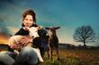 Obrazy na płótnie, fototapety, zdjęcia, fotoobrazy drukowane : Girl With Lamb