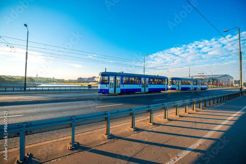 Fototapeta Tram on the Bridge in Krakow