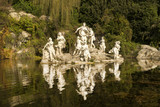 Caserta Royal Palace ,statues and reflections in the gardens of the Palace, Italy