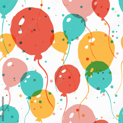 Cotton fabric Vector  watercolor seamless pattern with multicolor balloons. Ab