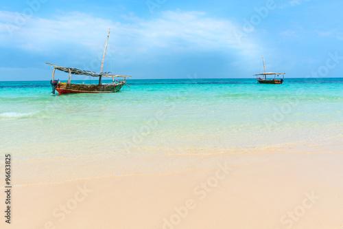 Fotobehang Zanzibar Dhow boats Indian ocean