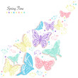 Butterflies design and abstract flowers spring time greeting card vector background