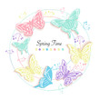 Butterfly and flowers circle abstract spring time greeting card vector background