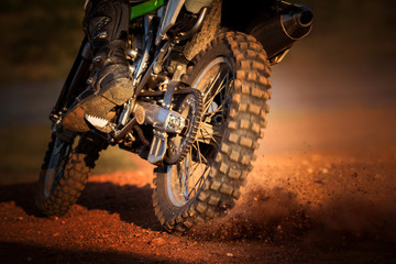 action of enduro motorcycle on dirt track © stockphoto mania