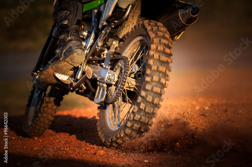 obraz PCV action of enduro motorcycle on dirt track