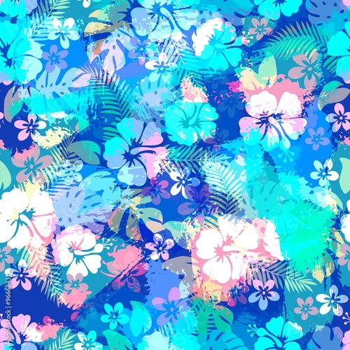 Hawaiian tropical floral seamless pattern. - 96668431