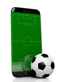 Soccer field with ball on smartphone edge display, isolated on white. - 96680058