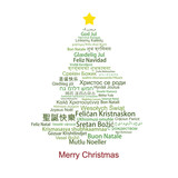 Fototapety Merry Christmas Tag Cloud shaped as a Christmas tree