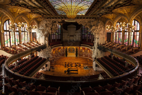 BARCELONA, CATALONIA - MARCH 9, 2013: Interior of Palace of Catalan Music in Bar Poster
