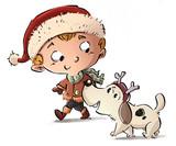 Fototapety niño con su perro en navidad