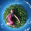 girl lying on the small planet