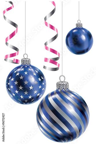 Trois boules de no l bleu et argent stock image and for Deco de noel bleu et argent