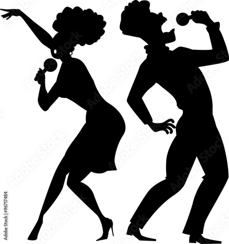 Fototapeta Black EPS 8 vector silhouette of a cartoon couple singing