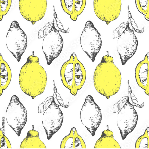 Hand-drawn sketch of lemon. Citrous pattern. - 96718642