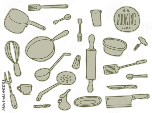 Vector Kitchen Utensils grey set. Image of set of different kitchenware and utensils of grey color on a white background.