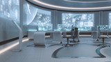 Fototapety 3D rendered empty, modern, futuristic command center interior