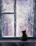 Fototapety Cat and winter